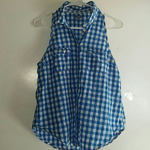 Sky Blue & White Checkered-•Aerie•| Button-Up Tank